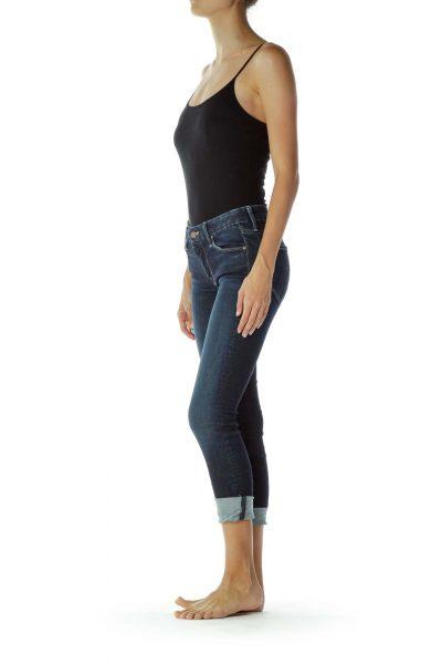 Blue Denim Cropped Jeans