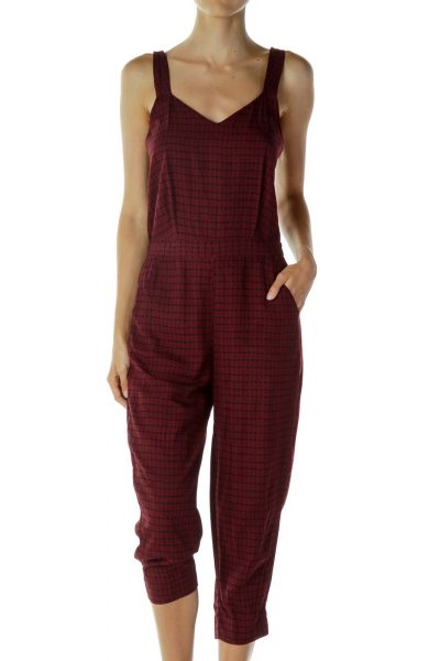 Red Print Cropped Jump Suit