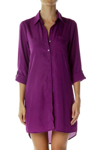 Purple Collared Shirt Dress