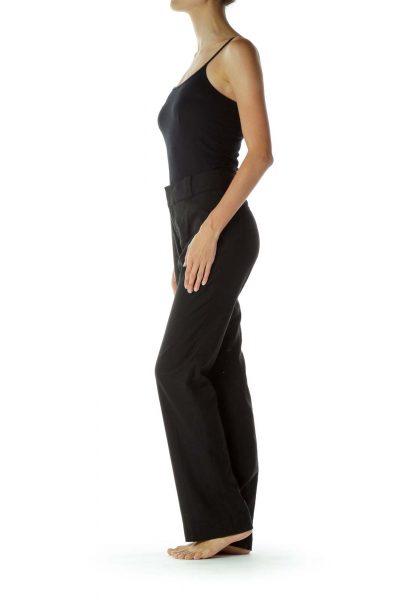 Black Wool Straight Leg Pants