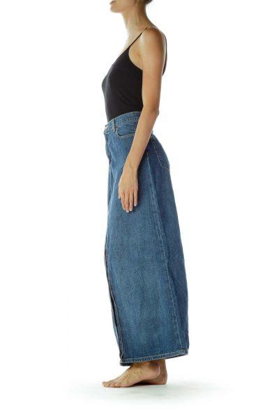 Denim Slitted Skirt