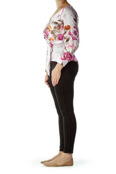 Pink Flower Print Silk Blouse