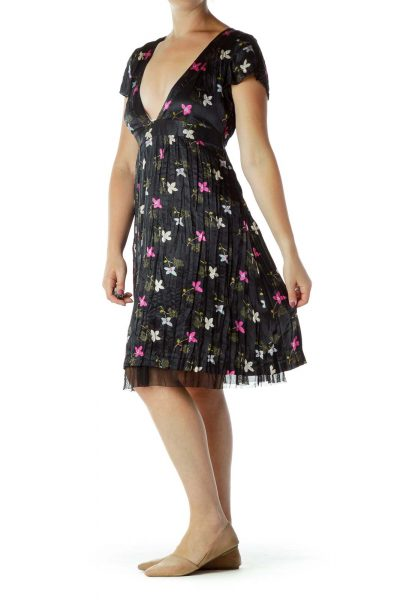 Black Purple Flower Print Dress