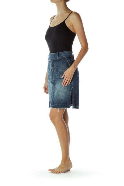 Denim Distressed Skirt