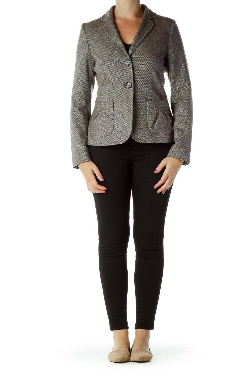 Brown Chevron Suit Jacket
