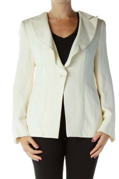 Cream Buttoned Suit Jacket