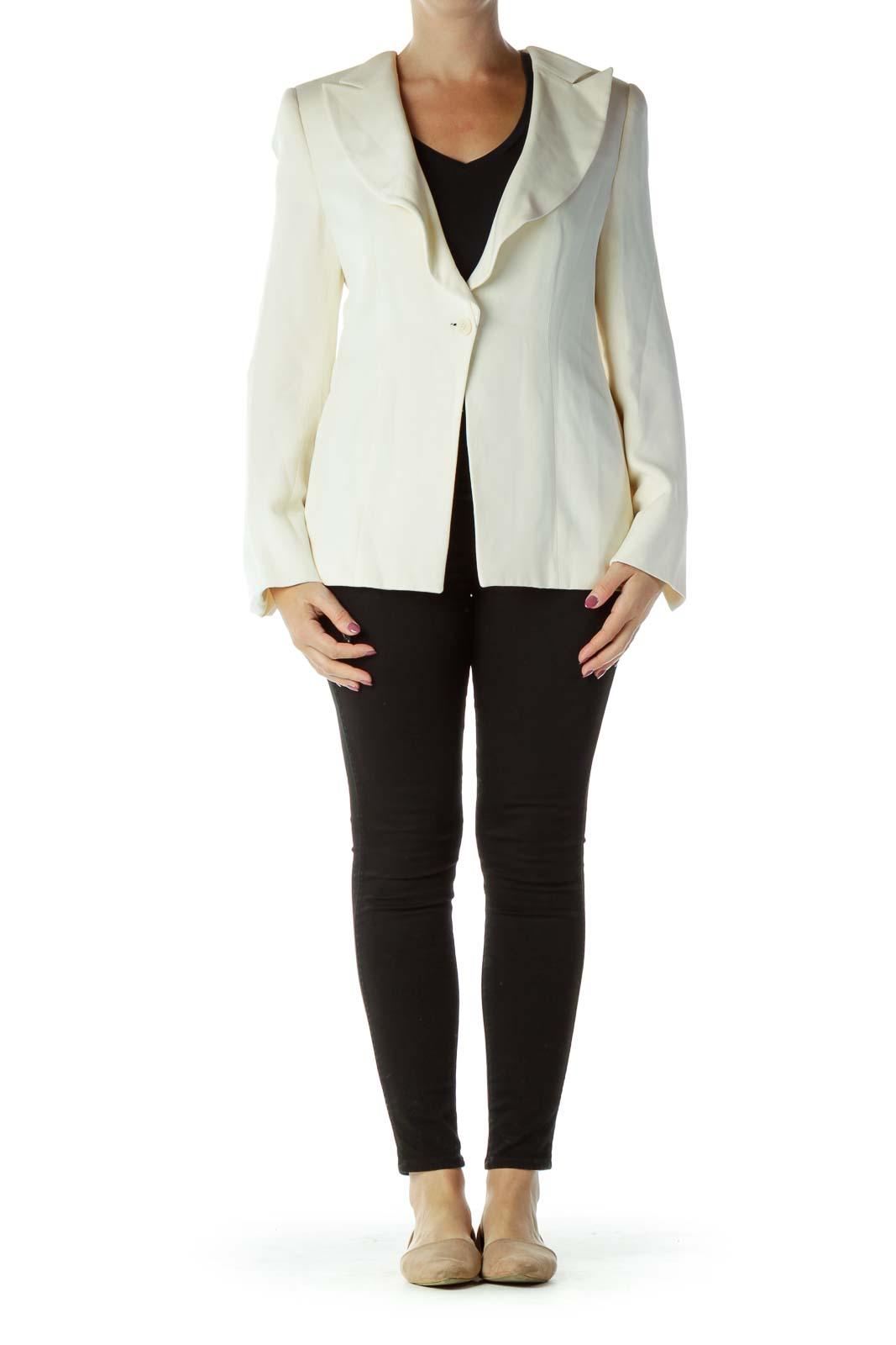 Cream Buttoned Suit Jacket