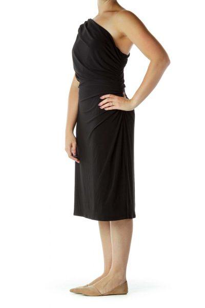 Black One-Shoulder Cocktail Dress