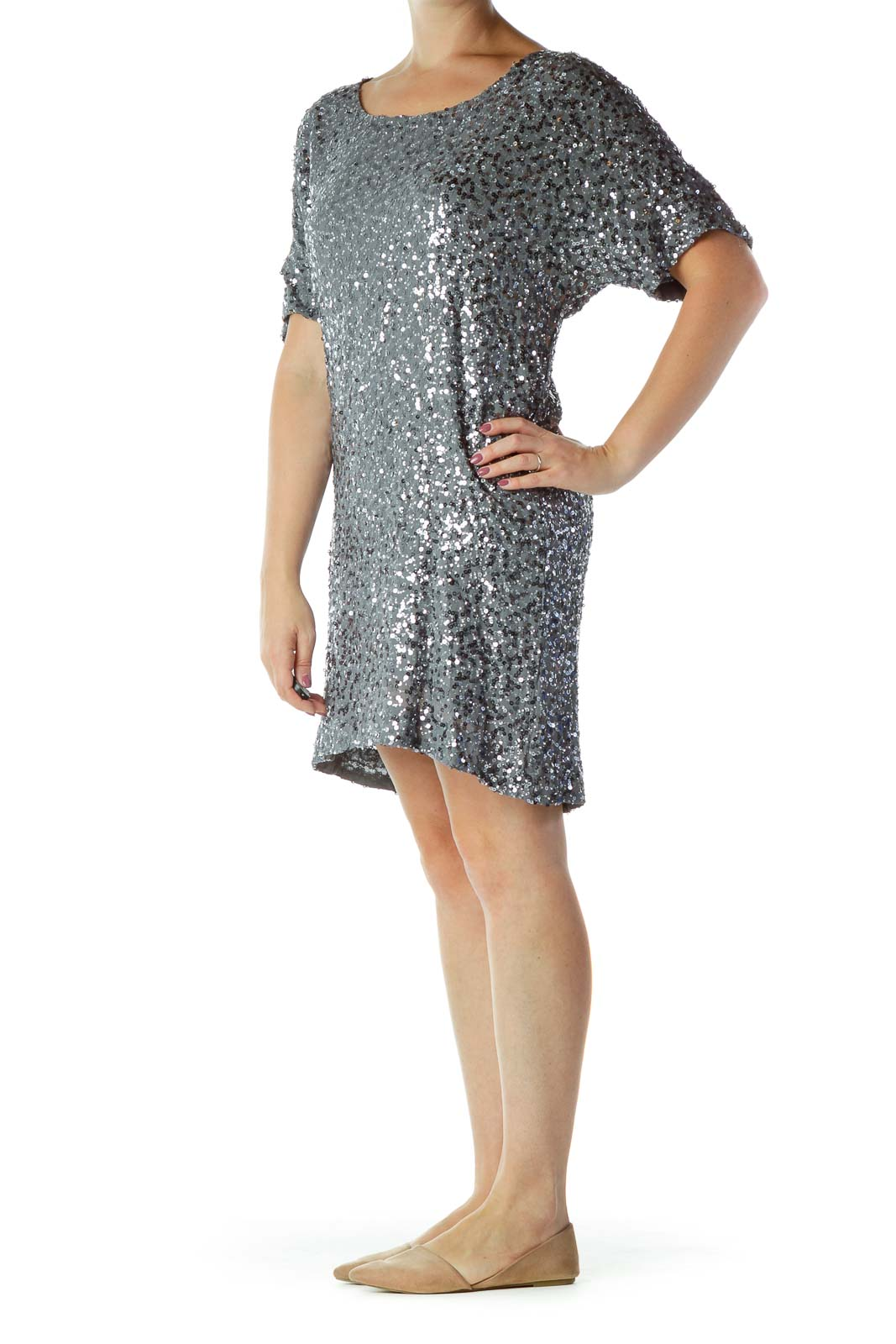 Gray Sequined Cocktail Dress