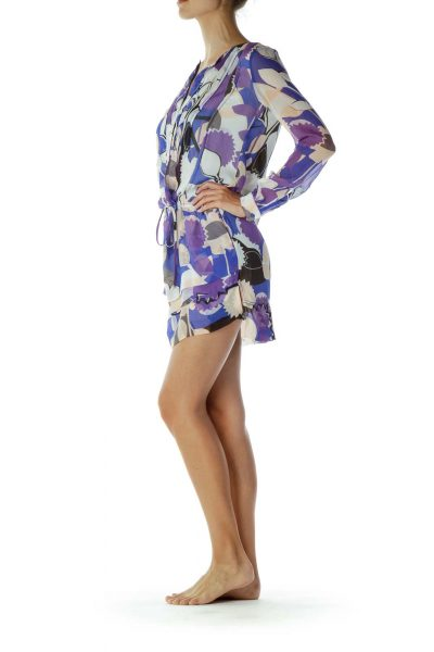 Purple Blue Print Day Dress