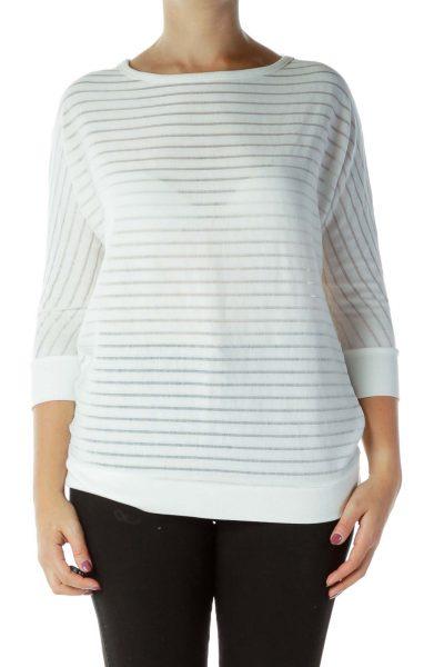 White Stripe Textured Top