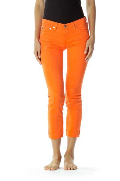 Orange Velvet Texture Pants