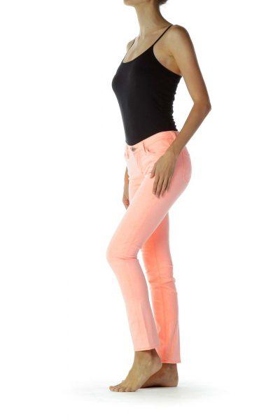 Pink Velvet Texture Skinny Jeans