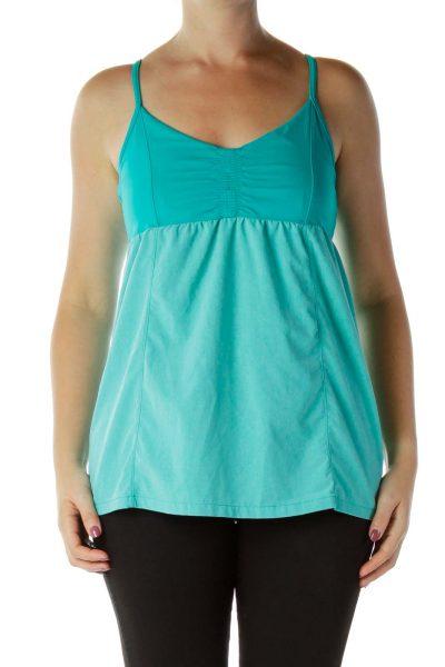 Turquoise Mottled Print Yoga Tank