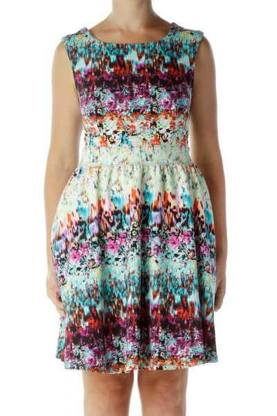 Multicolor Print Day Dress