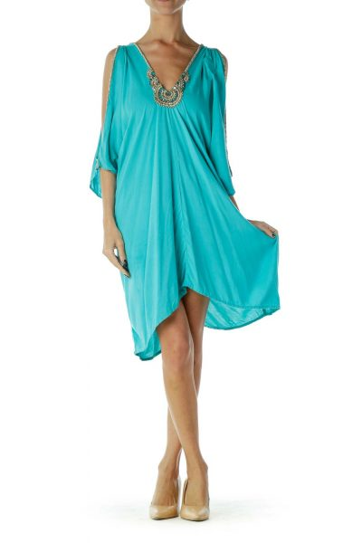 Blue Beaded Cold-Shoulder Tunic