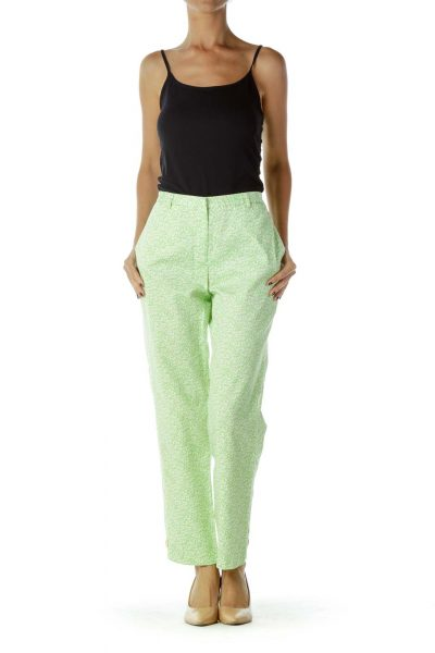 Green White Floral Pants