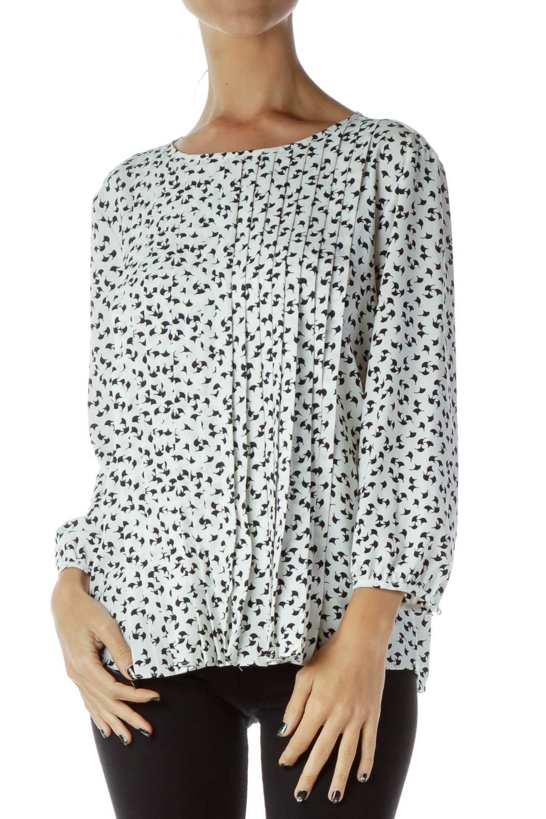 Black White Patterned Blouse