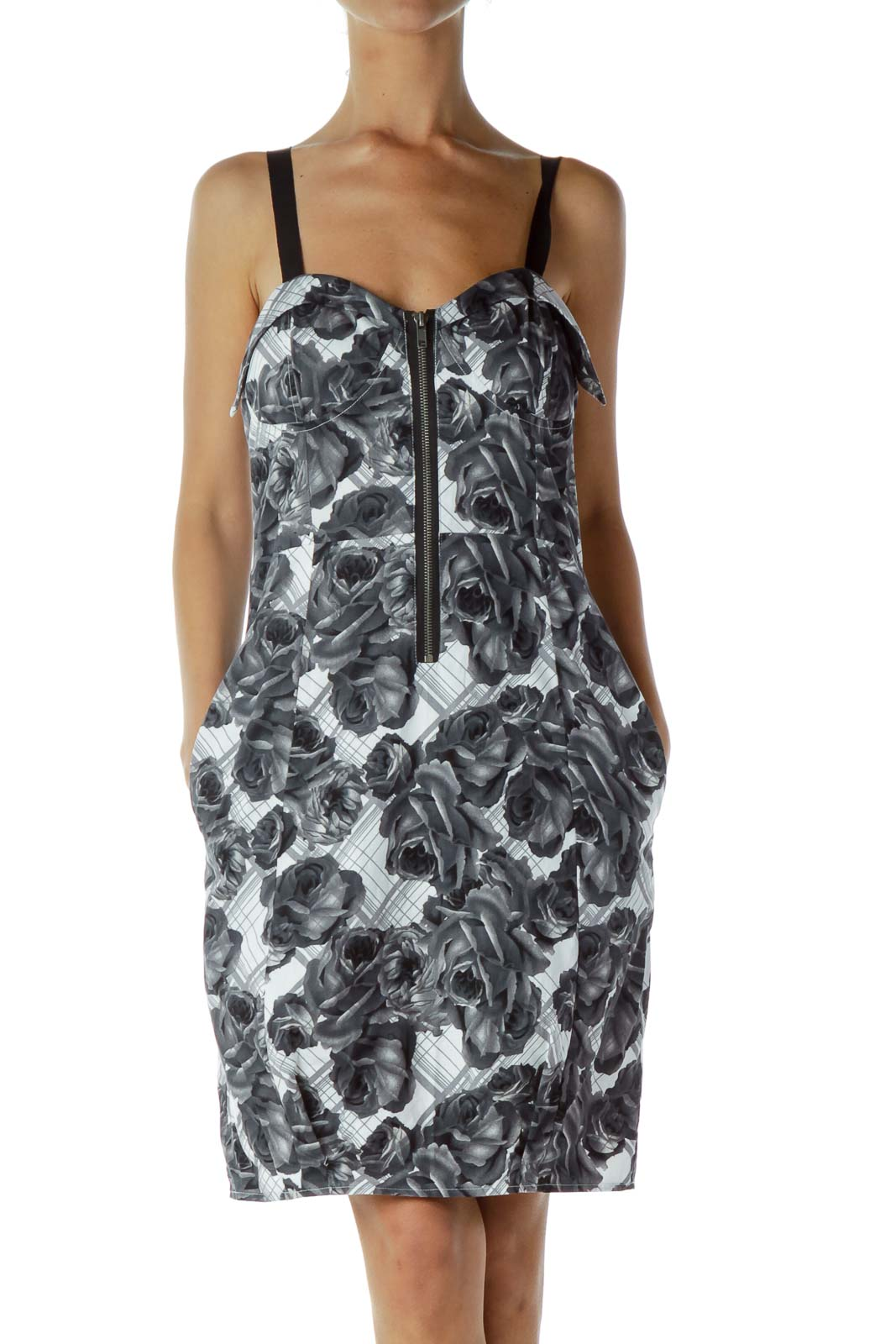 Gray White Zippered Cocktail Dress