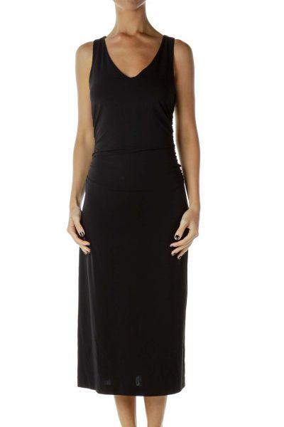 Black Gathered Work Dress