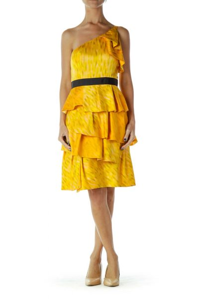 Yellow Orange Ruffled Cocktail Dress