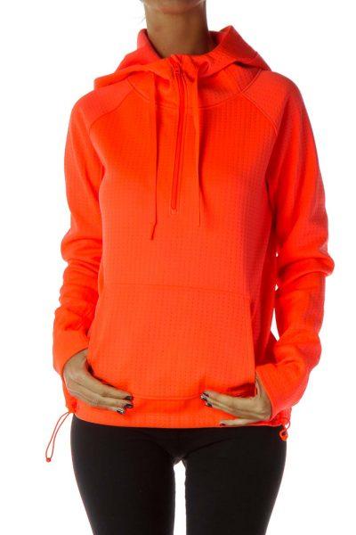Neon Orange Hooded Sweatshirt