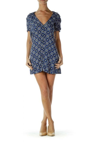 Blue White Geometric Day Dress