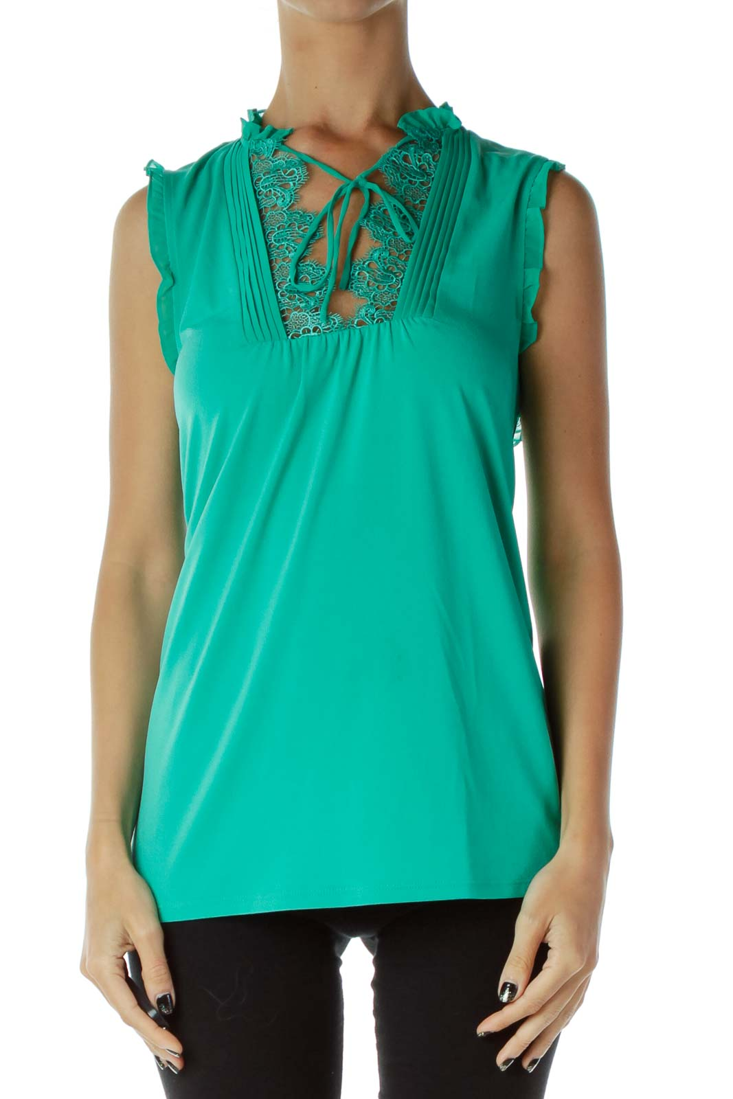 Green Laced Tank Top