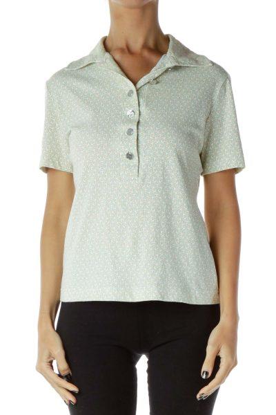 Green White Collared Shirt