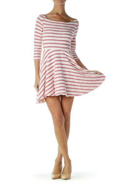 White Pink Striped Dress