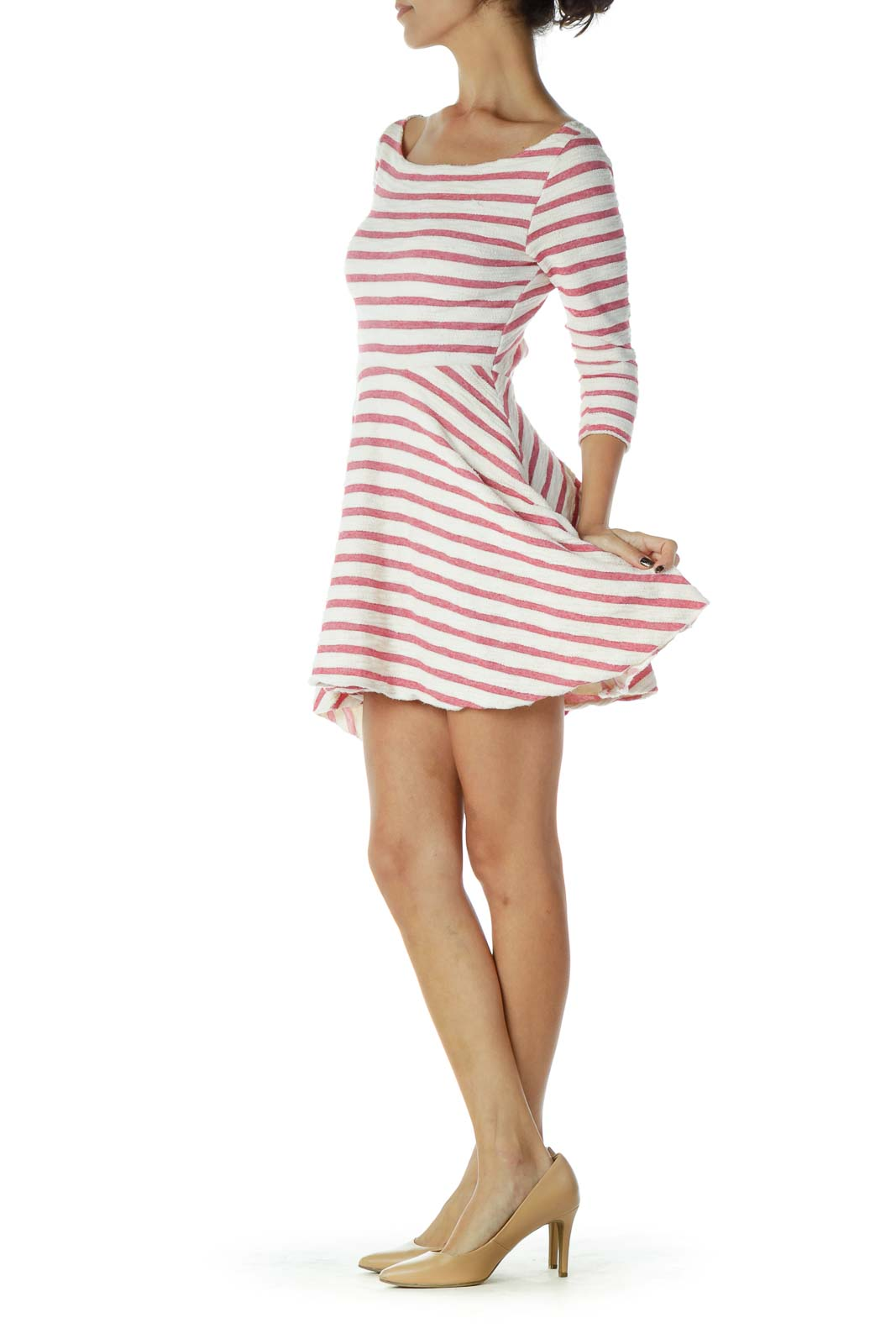 White Pink Striped Dress