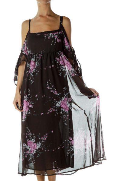 Black Purple Floral Day Dress
