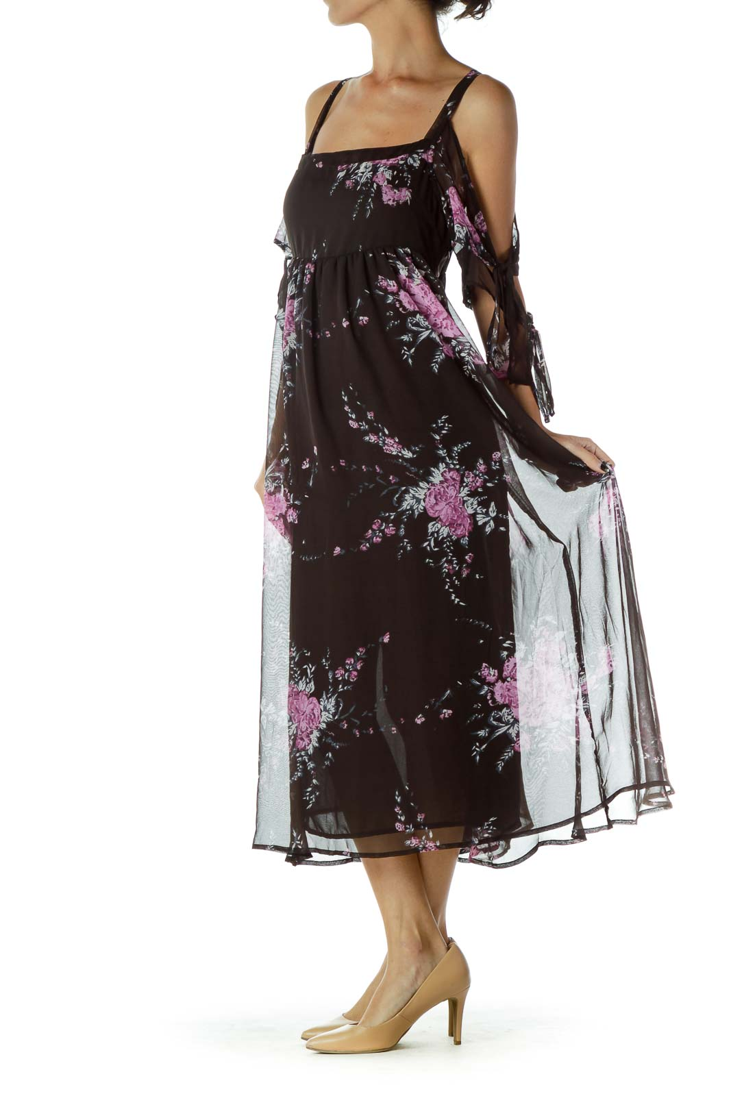 Black Purple Floral Day Dress