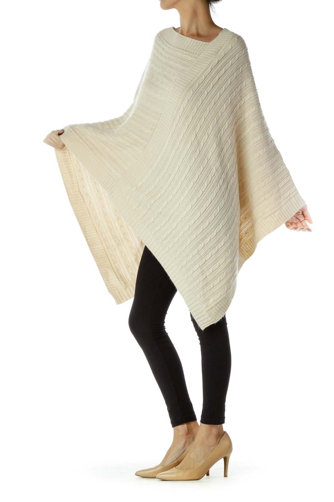 Beige Cable-Knit Poncho
