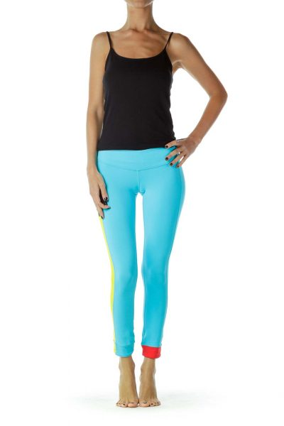 Blue Fitted Yoga Pants