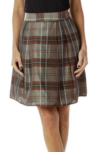 Gray Brown Plaid Skirt