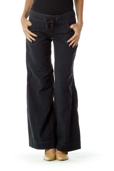 Black Blue Pinstripe Pants