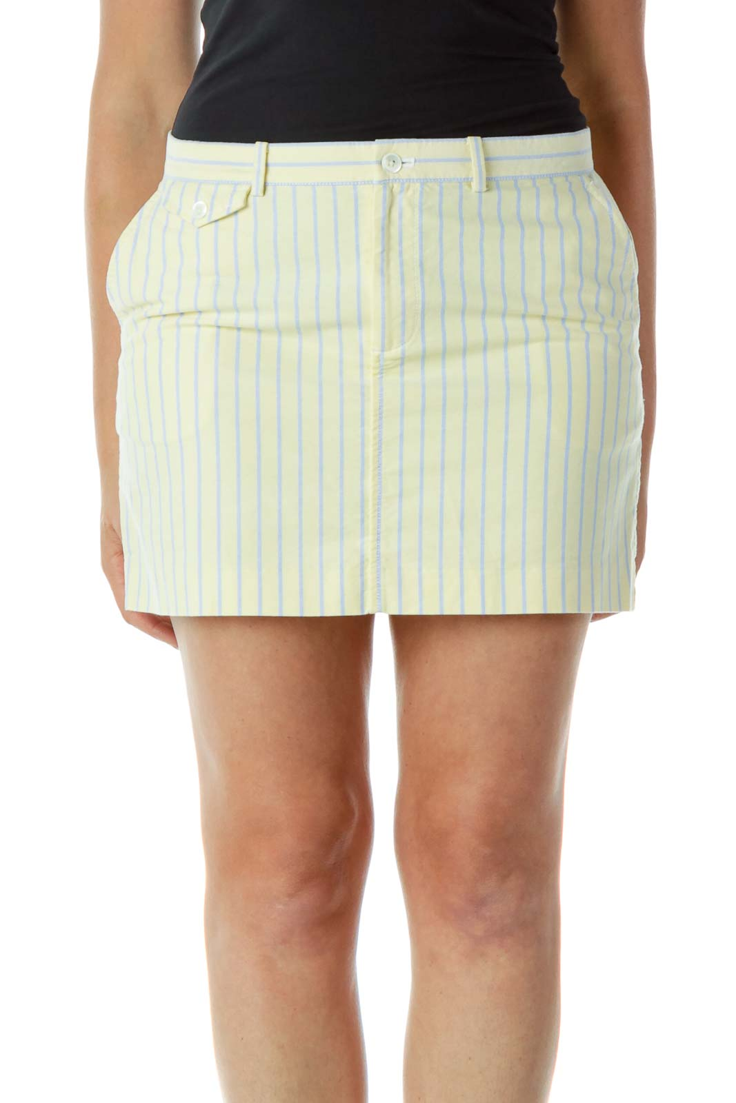 Yellow Blue Pinstripe Mini Skirt