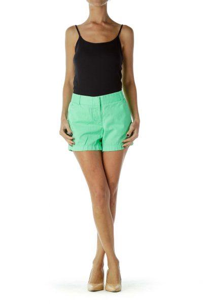 Green Color Block Shorts