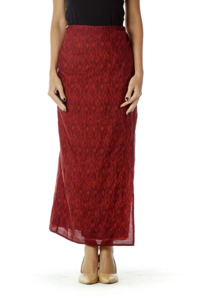 Red Tie Maxi Skirt
