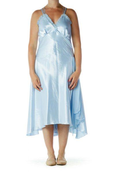 Blue Satin V-Neck Evening Dress