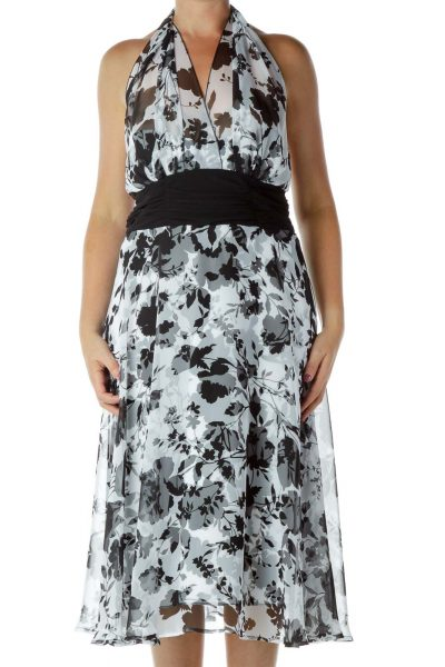 White Black Halter Floral Dress