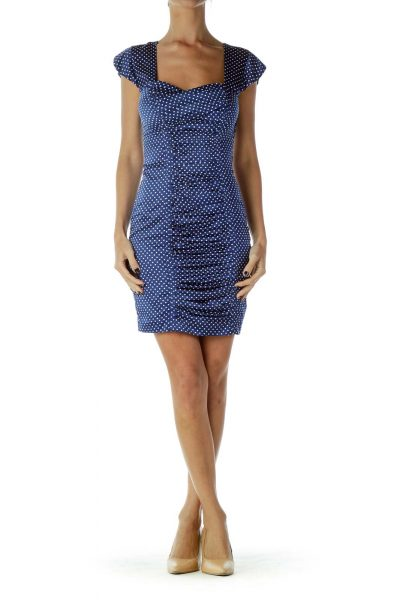 Blue White Polka-Dot Cap Sleeve Dress