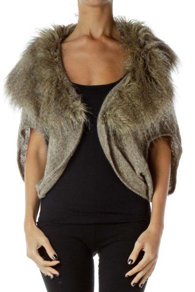 Brown Metallic Faux-Fur Cardigan