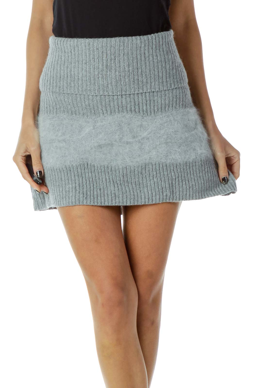 Gray Cable Knit Faux-Fur Skirt
