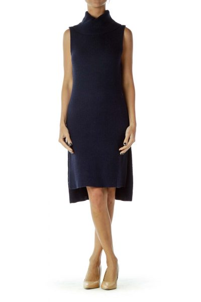 Navy Cowl Neck Cable Knit Dress