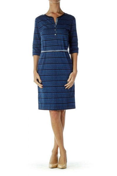 Blue Knit Striped Day Dress