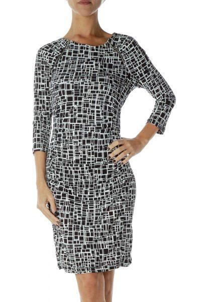 Black White Printed Work Dress