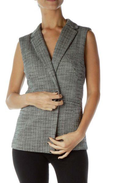 Black White Tweed Vest