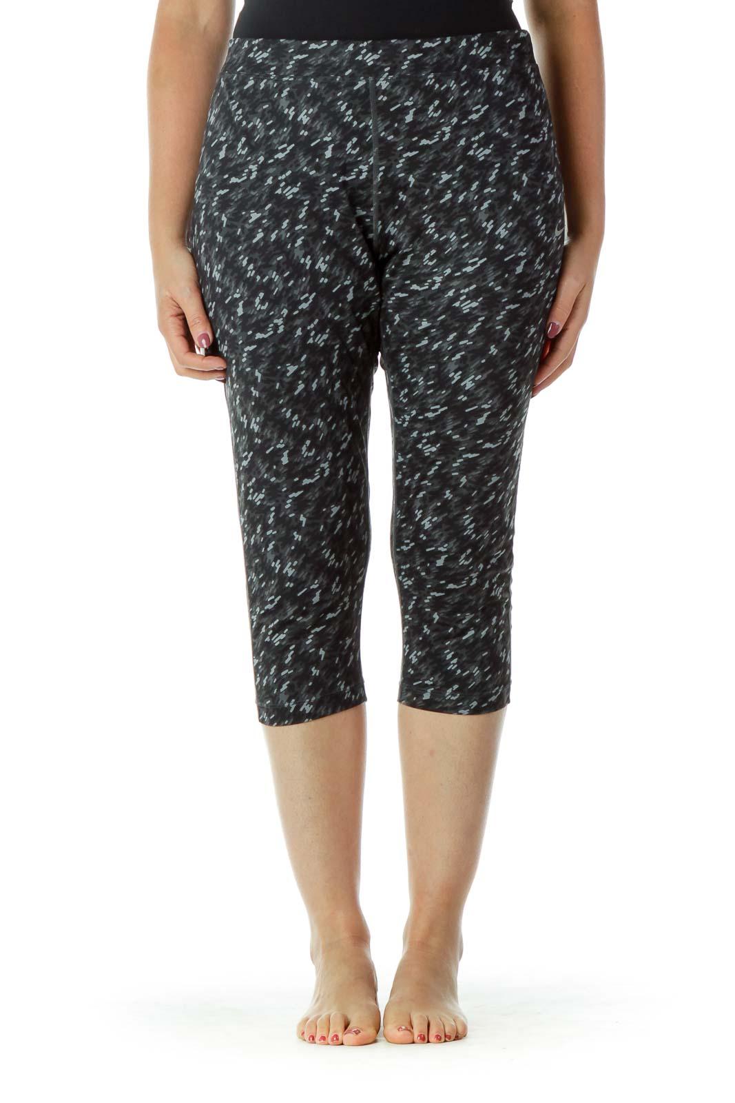Gray Printed Yoga Pants